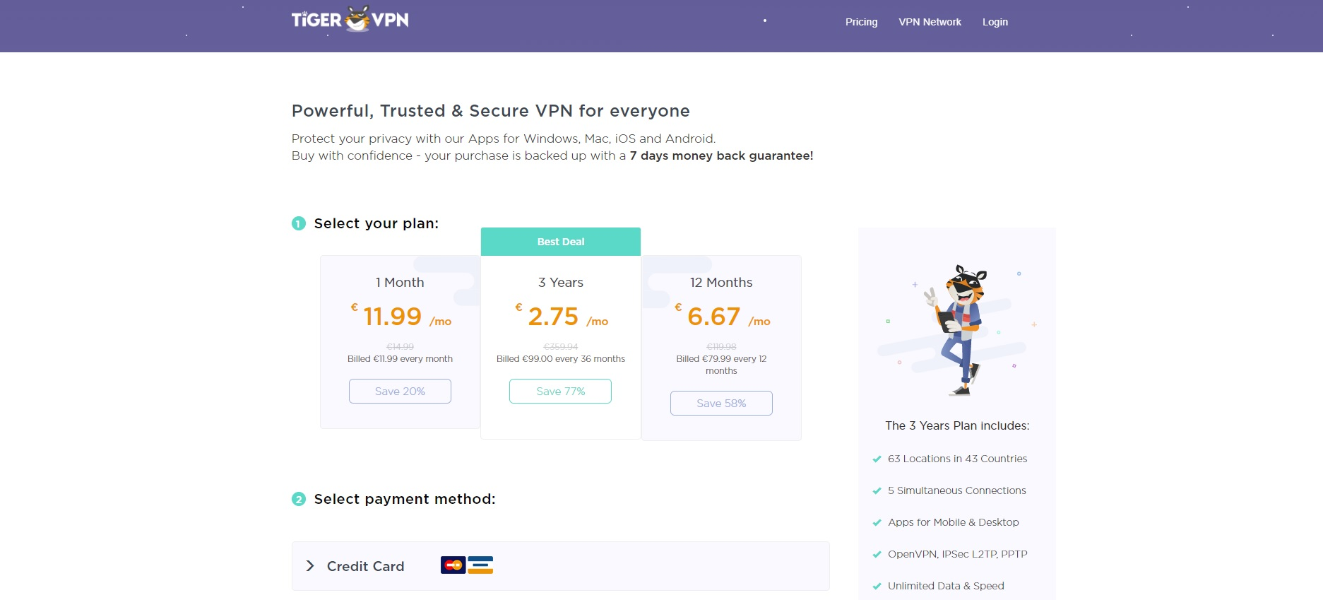 Tiger Vpn - A good VPN with an innovative reward program