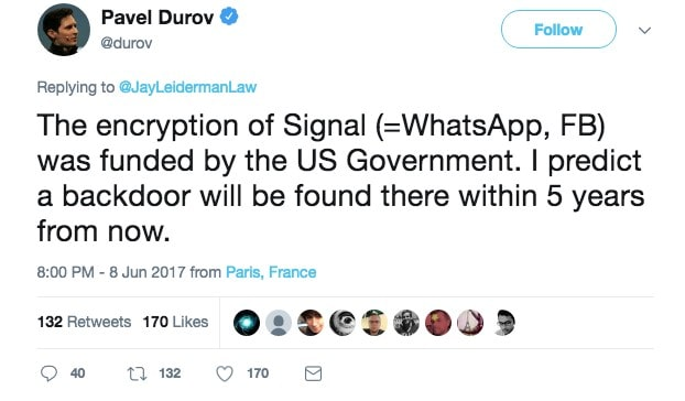 Pavel Durov suggests backdoor into Signal
