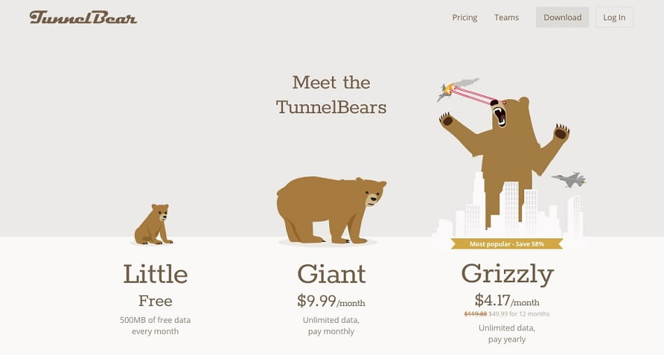 Tunnel Bear wins position 5 on our Top Cheap VPNs list