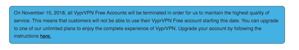 Vypr VPN closes all free accounts