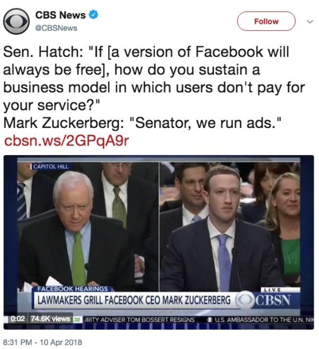 Senator, we run ads.