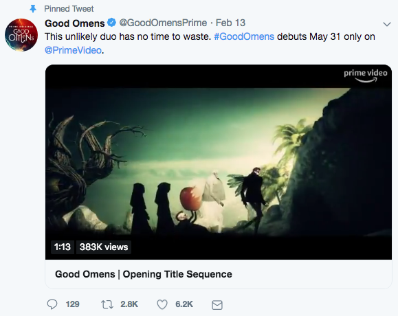 Tweet -- Amazon Prime showing Good Omens from May 31