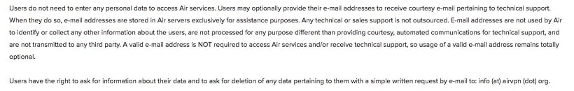 Air Vpns Privacy Statement
