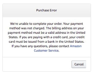 VPN on Amazon purchase Error
