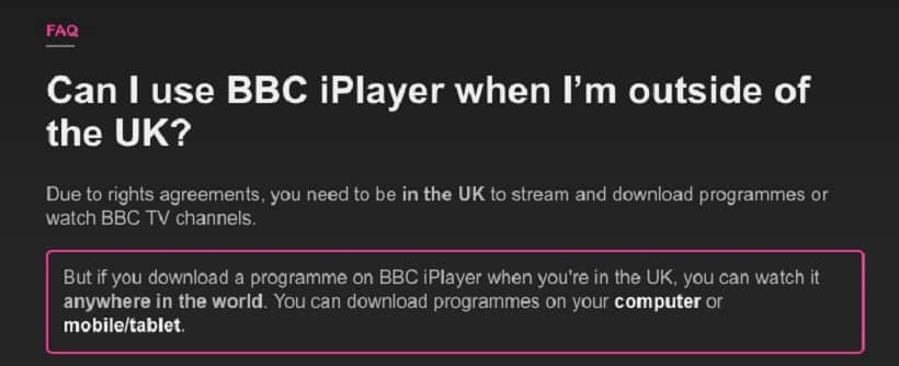 BBC iplayer with VPN