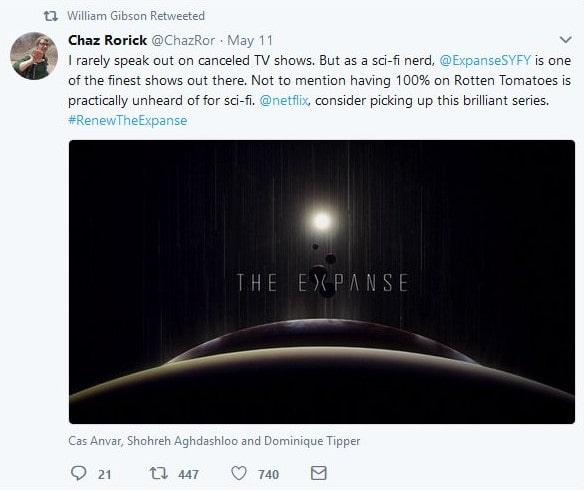Chaz Rorick on Twitter on The Expanse