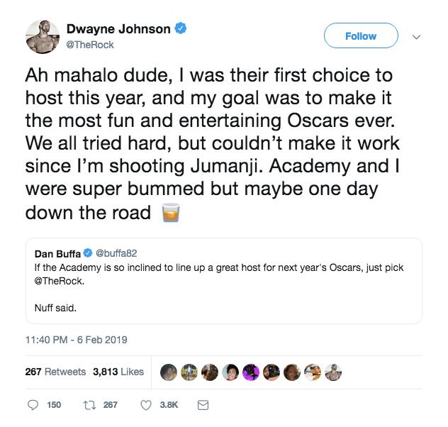 Dwayne Johnson on hosting the Oscars