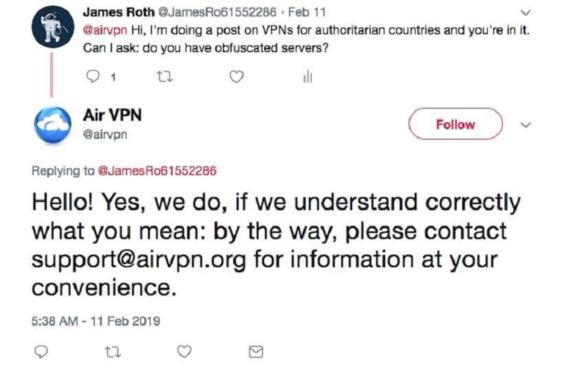 James Roth on Twitter asking Air VPN regarding Obfusucated Servers
