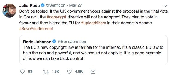 Julia Reda and Boris Johnson on Twitter